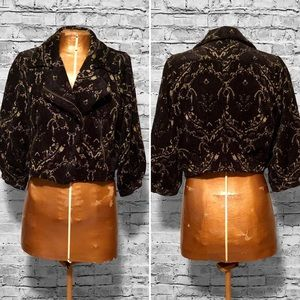 Free People Cropped Tapestry Jacket EUC